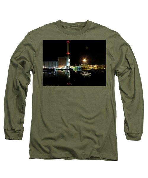 Shoreham Power Station Night Reflection 2 Long Sleeve T-Shirt