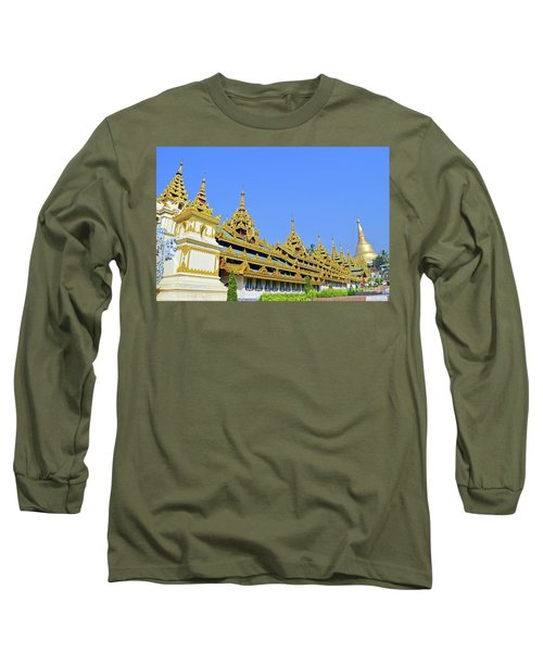 Long Sleeve T-Shirt featuring the digital art Shwedagon Pagoda  by Eva Kaufman