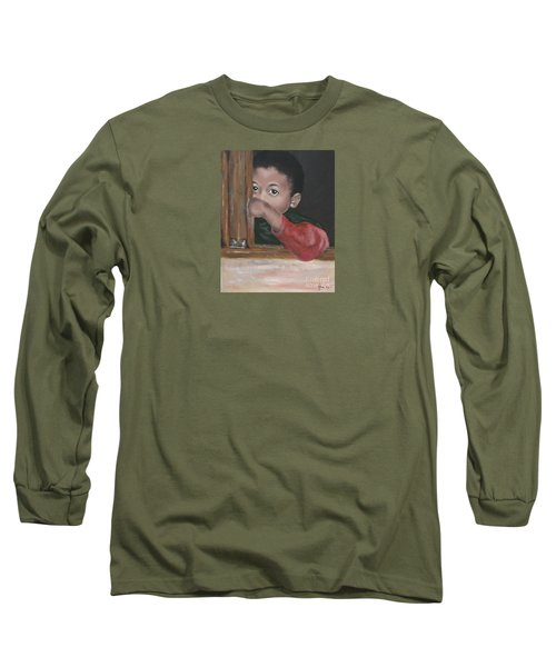 Long Sleeve T-Shirt featuring the painting Shy by Annemeet Hasidi- van der Leij