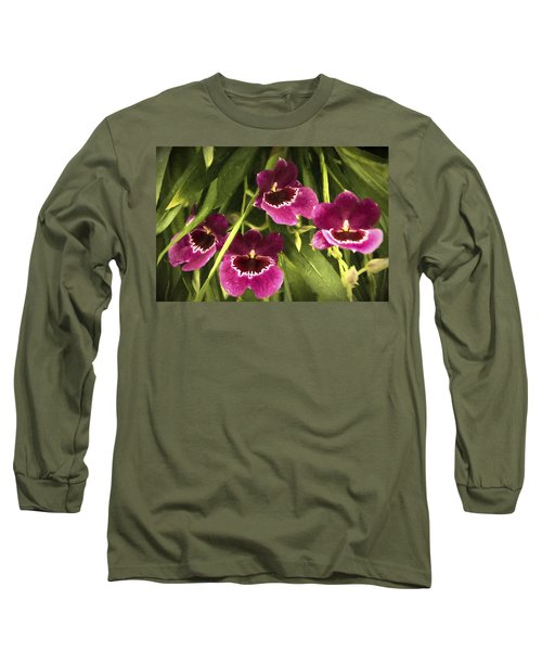 Long Sleeve T-Shirt featuring the photograph Shy, Confident, Tentative And Awkward Orchids by Penny Lisowski