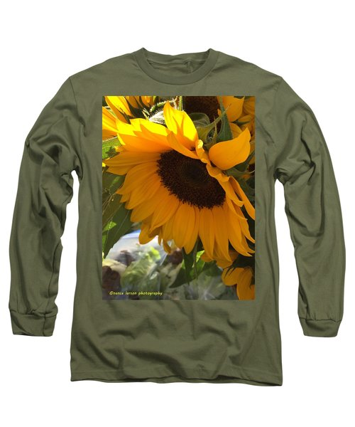 Shy Sunflower Long Sleeve T-Shirt by Nance Larson