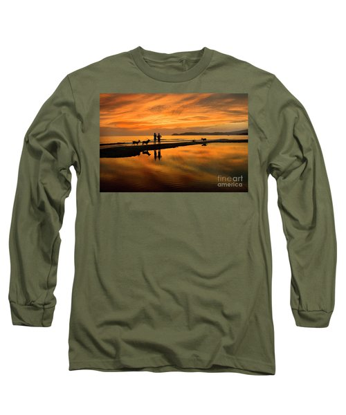 Silhouette And Amazing Sunset In Thassos Long Sleeve T-Shirt