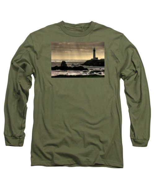 Silhouette Sentinel - Pigeon Point Lighthouse - Central California Coast Spring Long Sleeve T-Shirt by Michael Mazaika