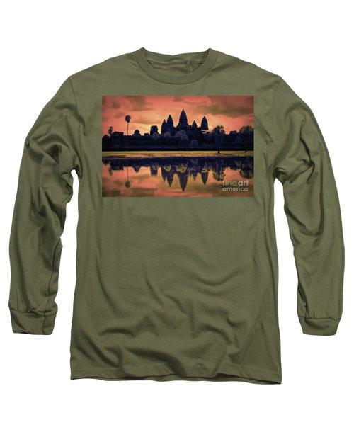 Silhouettes Angkor Wat Cambodia Mixed Media  Long Sleeve T-Shirt