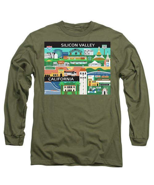 Silicon Valley California Horizontal Scene - Collage Long Sleeve T-Shirt