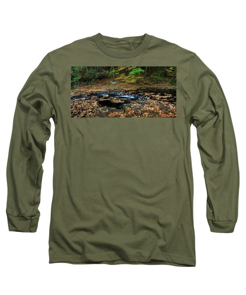 Silky New England Stream In Autum Long Sleeve T-Shirt