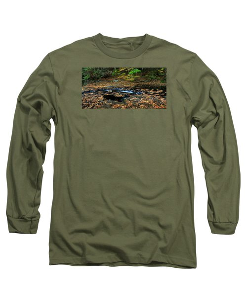 Silky New England Stream In Autum Long Sleeve T-Shirt