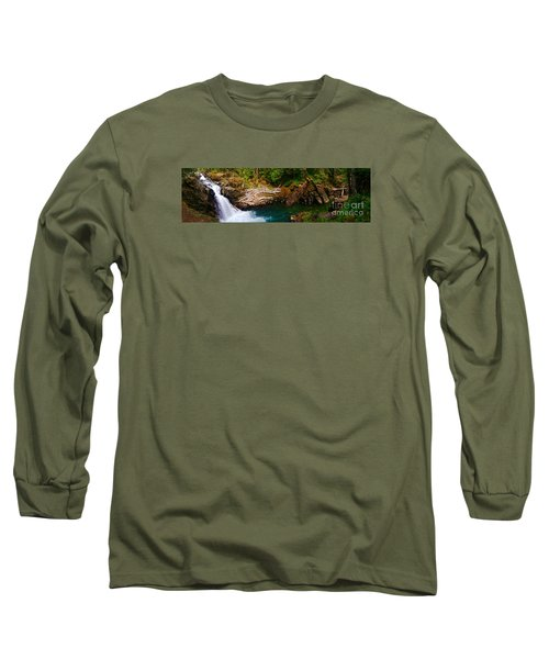 Silver Falls Panorama Long Sleeve T-Shirt by Sean Griffin