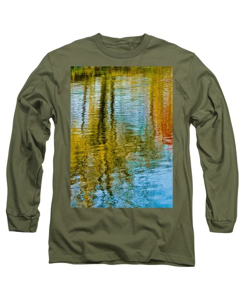 Silver Lake Autum Tree Reflections Long Sleeve T-Shirt by Michael Bessler
