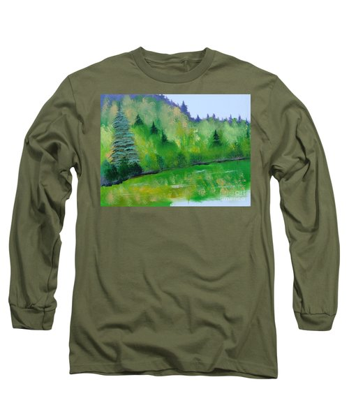 Long Sleeve T-Shirt featuring the painting Simply Green by Rod Jellison