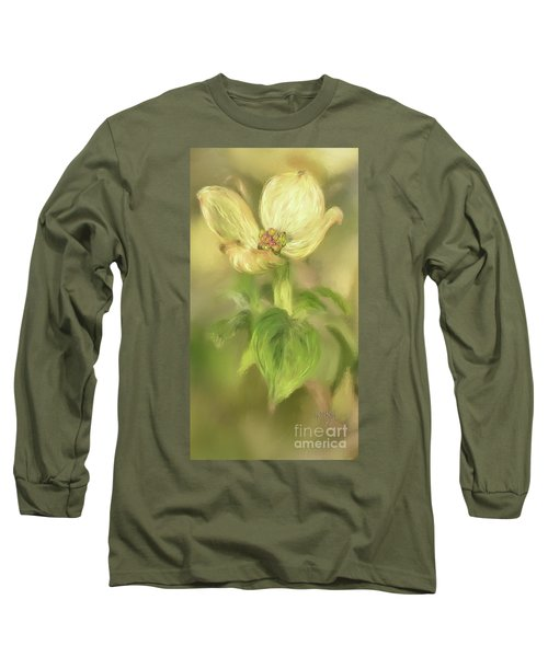 Single Dogwood Blossom In Evening Light Long Sleeve T-Shirt by Lois Bryan