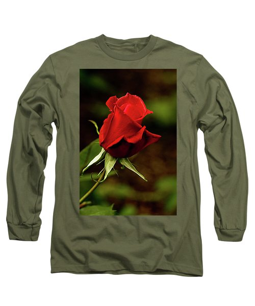 Single Red Rose Bud Long Sleeve T-Shirt by Jacqi Elmslie