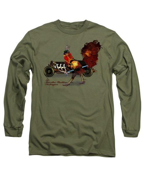 Sir Marcellus Thaddeus Cluckington Long Sleeve T-Shirt by Iowan Stone-Flowers