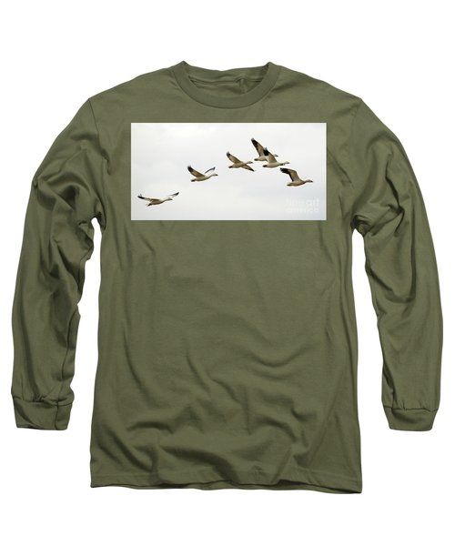 Long Sleeve T-Shirt featuring the photograph Six Snowgeese Flying by Mike Dawson