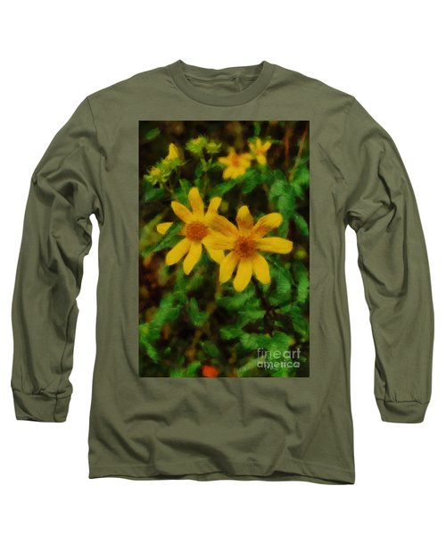 Long Sleeve T-Shirt featuring the photograph Sixteen Petals  Two Yellow Wildflowers by Michael Flood