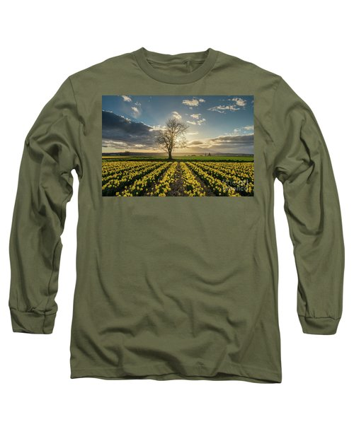 Long Sleeve T-Shirt featuring the photograph Skagit Daffodils Lone Tree  by Mike Reid