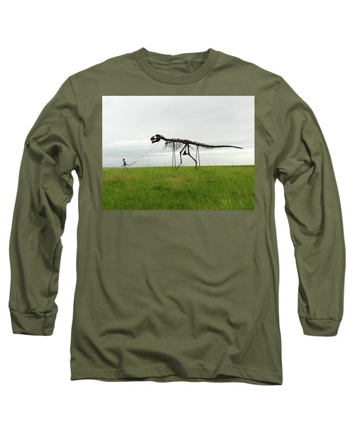 Skeletal Man Walking His Dinosaur Statue Long Sleeve T-Shirt