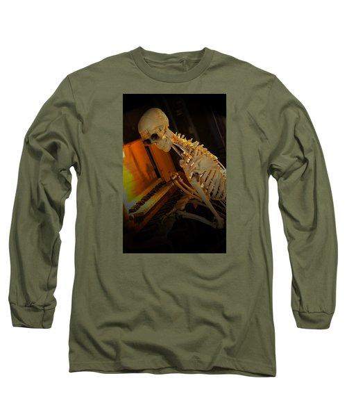 Skeleton Musician Long Sleeve T-Shirt by Bob Pardue