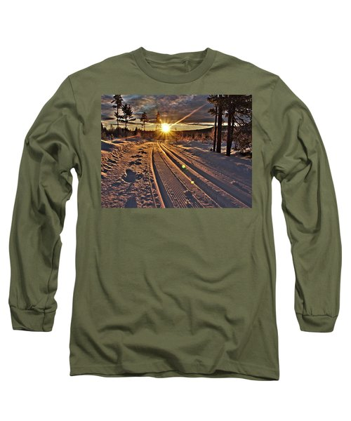 Ski Trails With Sun Beams Long Sleeve T-Shirt