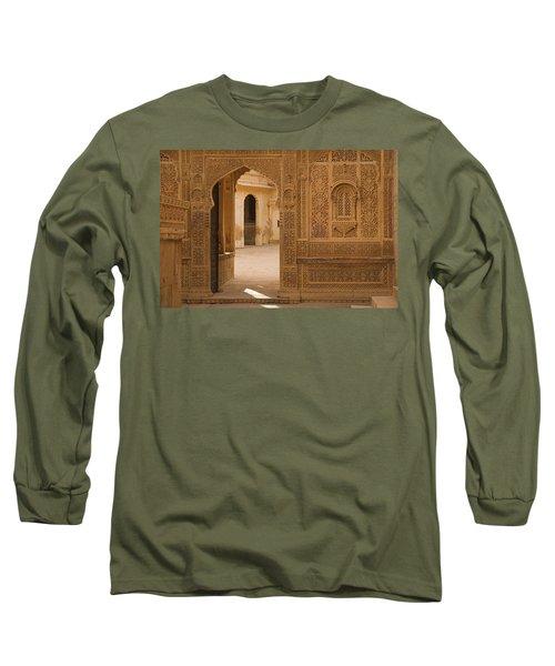 Skn 1317 Threshold Of Carvings Long Sleeve T-Shirt by Sunil Kapadia