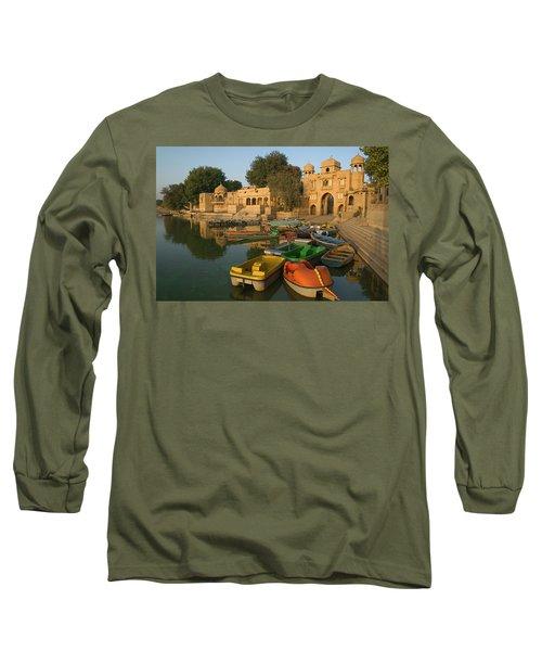 Skn 1391 A Visit To Gadisar Lake Long Sleeve T-Shirt by Sunil Kapadia