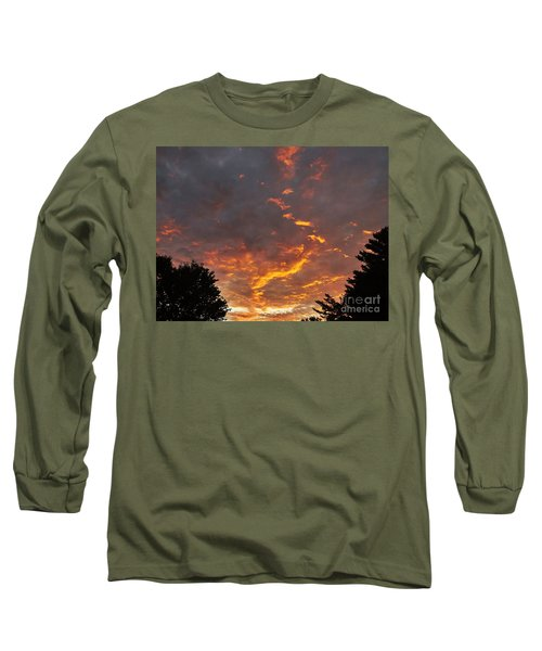 Sky On Fire Long Sleeve T-Shirt by Christy Ricafrente