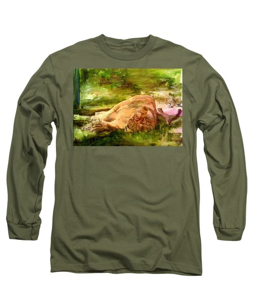 Sleeping Lionness Pushy Squirrel Long Sleeve T-Shirt