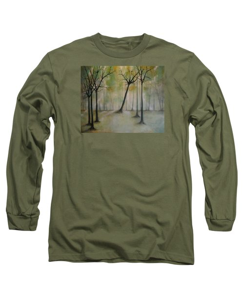 Long Sleeve T-Shirt featuring the painting Sleeping Trees by Tamara Bettencourt