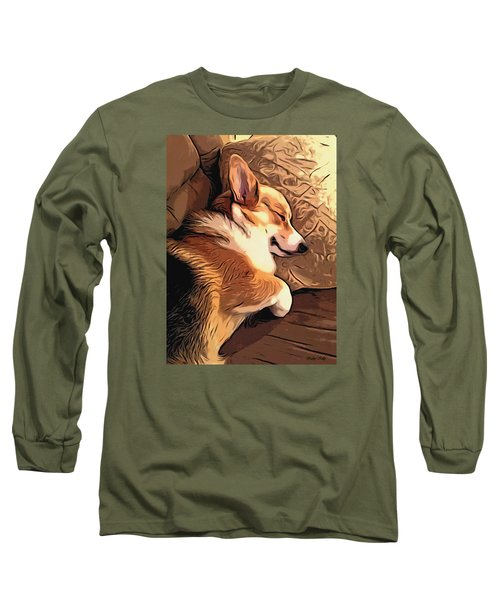 Long Sleeve T-Shirt featuring the digital art Banjo The Sleeping Welsh Corgi by Kathy Kelly