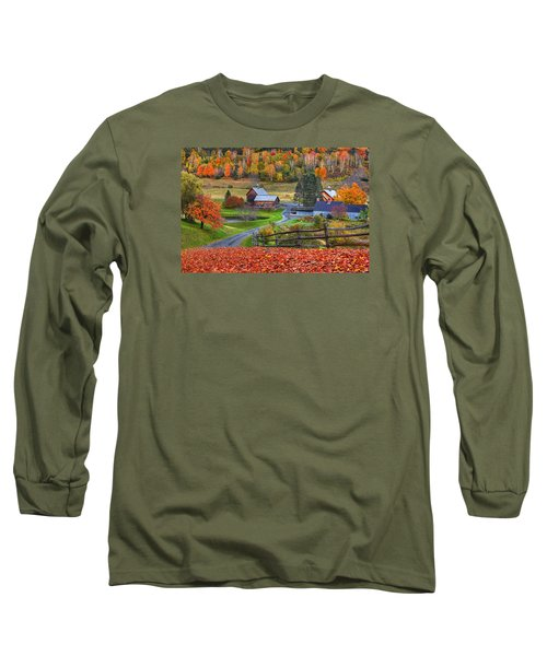 Sleepy Hollows Farm Woodstock Vermont Vt Autumn Bright Colors Long Sleeve T-Shirt