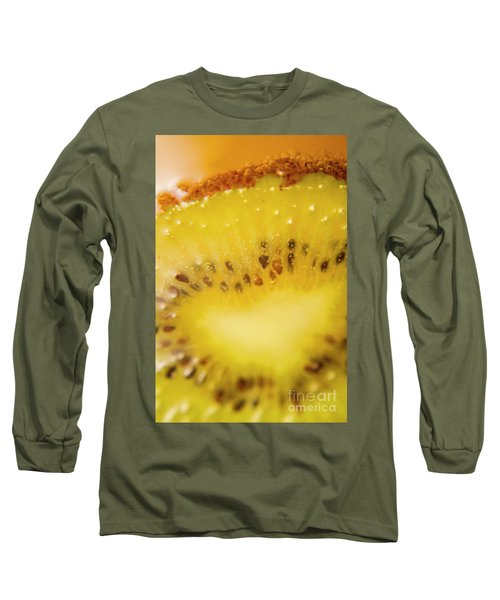 Sliced Kiwi Fruit Floating In Carbonated Beverage Long Sleeve T-Shirt by Jorgo Photography - Wall Art Gallery