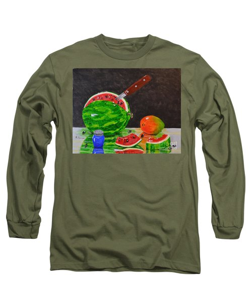 Long Sleeve T-Shirt featuring the painting Sliced Melon by Melvin Turner