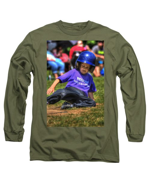 Sliding Home 1822 Long Sleeve T-Shirt by Jerry Sodorff