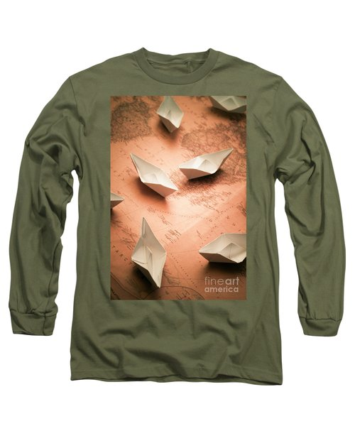 Small Paper Boats On Top Of Old Map Long Sleeve T-Shirt