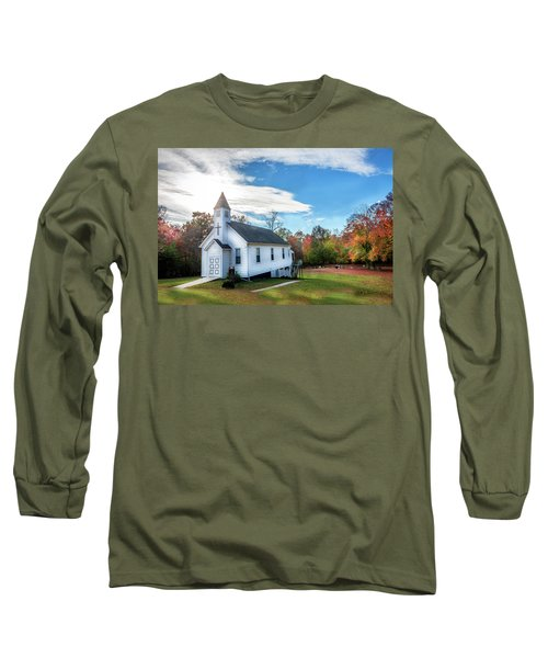 Small Wooden Church In The Countryside During Autumn Long Sleeve T-Shirt