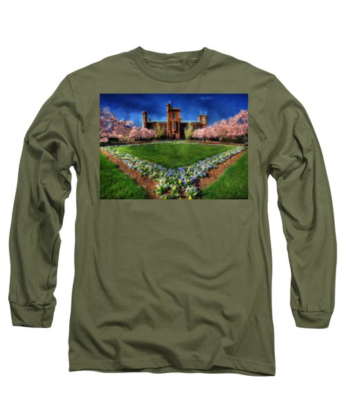 Spring Blooms In The Smithsonian Castle Garden Long Sleeve T-Shirt by Shelley Neff