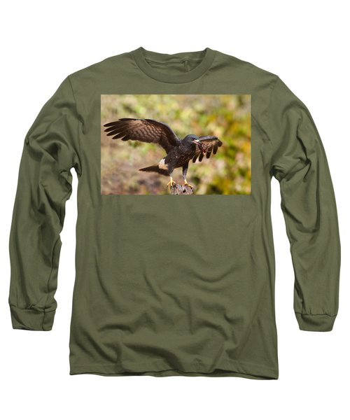 Snail Kite With Crab In Pantanal Long Sleeve T-Shirt by Aivar Mikko