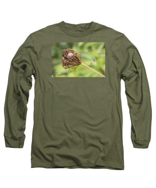 Long Sleeve T-Shirt featuring the photograph Snail Nestled In Queen Anne's Lace by Betty Denise