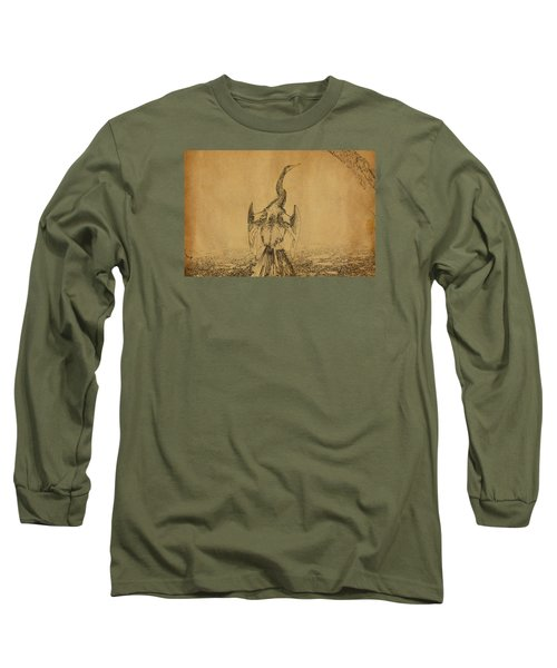 Snake Bird Or Darter  Long Sleeve T-Shirt