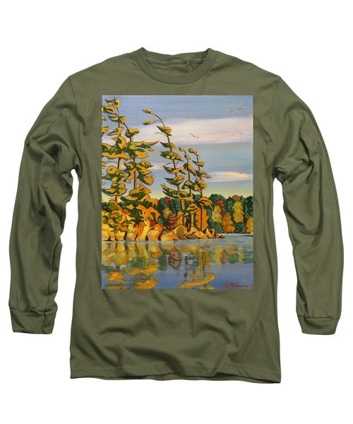 Snake Island In Fall Sunset Long Sleeve T-Shirt by David Gilmore