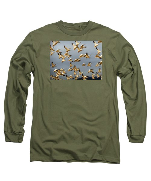 Snowgeese In Flight 2 Long Sleeve T-Shirt by Karen Molenaar Terrell