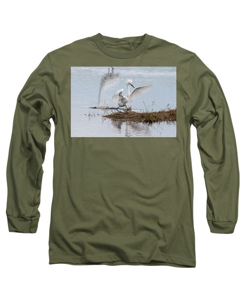 Snowy Egret Chasing His Dinner Long Sleeve T-Shirt