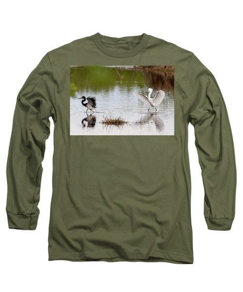 Snowy Egret Chasing Other Bird Out Of Feeding Area Long Sleeve T-Shirt