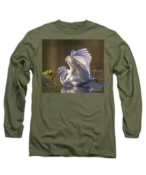 Snowy Egret Hunting - Egretta Thula Long Sleeve T-Shirt