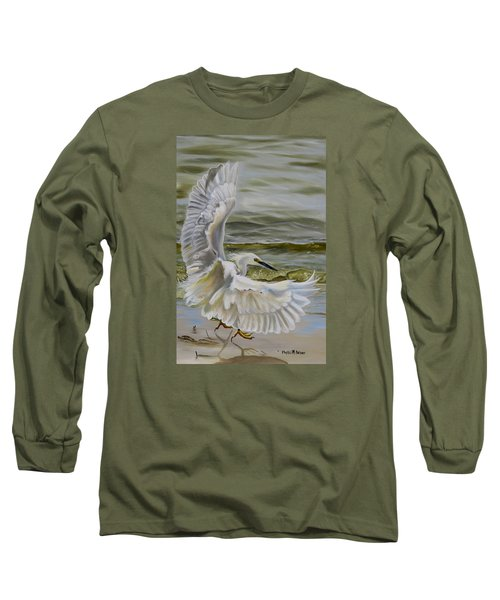 Long Sleeve T-Shirt featuring the painting Snowy Egret Landing On The Shore by Phyllis Beiser
