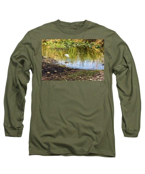 Snowy Egret Reflections Long Sleeve T-Shirt