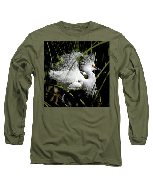 Long Sleeve T-Shirt featuring the photograph Snowy Egret by Steven Sparks