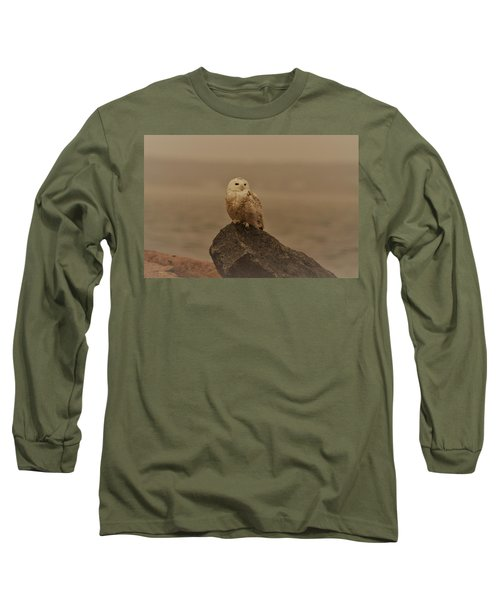 Snowy Owl In Sepia Long Sleeve T-Shirt