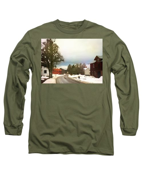 Snowy Street With Red House Long Sleeve T-Shirt