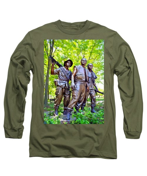 Soldiers Statue At The Vietnam Wall Long Sleeve T-Shirt